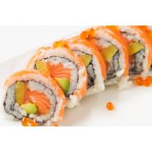 F2. Duo-saumons Roll 10pcs 14.90€  Ext . saumons mi-cuit, ikura  Int. saumon épicé, avocat