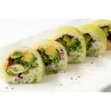 F3. Green roll végétarien 10pcs 12.90€  Ext. Feuille de soja  Int. Avocat, concombre, salade, tomate seché, shitaké