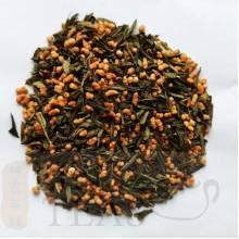Genmaicha BIO 50g    'Genmai' est le mot japonais pour le riz brun. 'Cha' signifie thé.  Dans un rapport d'environ 3:1, le riz précuit est mélangé à du thé classique. Bancha ou Sencha convient pour cela. En fonction de la qualité et de l'origine du riz et du thé, différentes qualités sont produites. Cette gamme est fabriqué en Chine, de même manière japonaise.    Préparationen théière en porcelaine ou en fonte  Utilisez une eau faiblement minéralisée.  Température 85 °C Dosage: 2 c.c. Durée: 4 min.    Ideal pendant le repas