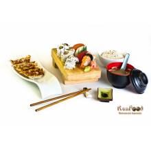 Menu nippon : une entrée + un plat cru(Groupe A)+ un demi quantité du plat cuit(Groupe B), tous au choix.  prix emporté : 16 euros      Trouvez tous les plats dans la rubriqueA LA CARTE.